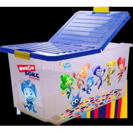 """Детский ящик для хранения игрушек """"ФИКСИКИ"""" на колесах со складной крышкой, 57л"""