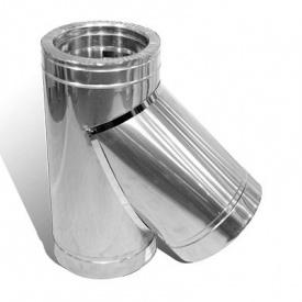 Тройник 45 градусов 130/200 мм нержавеющая сталь 1/0,5 мм двустенный элемент