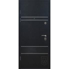 Двери входные Эстило с алюминевой вставкой цвет гаризонт венге серый