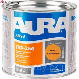 Емаль ПФ-266 AURA красно-коричневая 2,8 кг