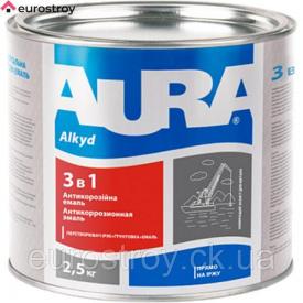 Грунт-эмаль 3 в 1 Aura коричневая 0,8 кг AURA