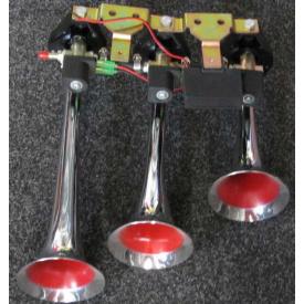 Сигнал 3-дудки пневмо 24V KH-103 метал хром музика комплект