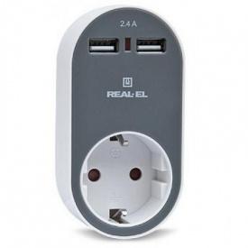 Зарядное устройство REAL-EL USB-устройств + розетка (CS-20)