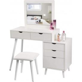 Туалетный гримерный столик с 2 ящиками и тумбочкой Woltu MB6059 Белый