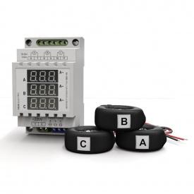 Амперметр трифазного змінного струму цифрового на DIN-рейку DEUS Electro АМ3-100 220 В 0-100 А