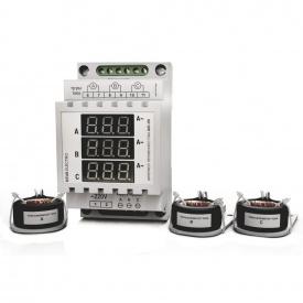 Амперметр трифазного змінного струму цифрового на DIN-рейку DEUS Electro АМ3-300 220 В 0-300 А