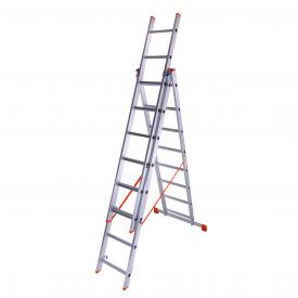 Лестница трехсекционная алюминиевая Laddermaster Sirius A3A8. 3x8 ступенек