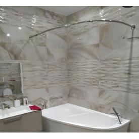 Карниз дуга в ванную для поддона 140x90 полукруглый Ф25 ЛЮКС