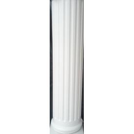 Колона круглая античная с канелюрами средняя секция глянцевая 25х100 см белая