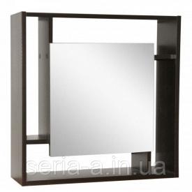 Шкаф с зеркалом Троя ВЕНГЕ с открытыми полками