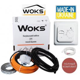 Теплый пол Woks 12,3м²-15,4м²/2190Вт (123м) тонкий двухжильный нагревательный кабель под плитку 18Вт/м с механическим терморегулятором RTC 70