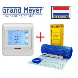 Кабельний мат Grand Meyer EcoNG150 4,5м²/675Вт/ 150Вт/м²тепла підлога електрична під плитку з сенсорним терморегулятором Е91