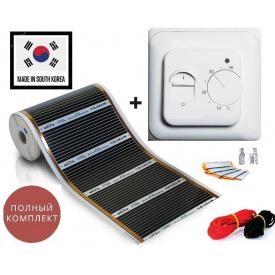 HEAT PLUS плівкова тепла підлога 1 м²/0,5х2 м/220 Вт/220 Вт/м² з механічним терморегулятором RTC 70