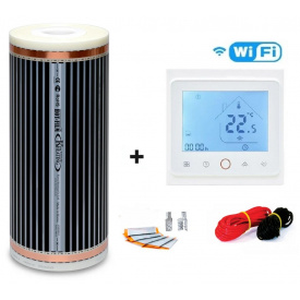 Пол с подогревом пленочный Hot Film 5 м²(ширина 50 см) 1100 Вт 220 Вт/м² c терморегулятором TWE02 Wi-Fi