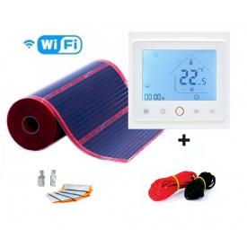 Электро пол RexVa PTC 6м²(0.5мх12м)1320Вт/220Ват/м² саморегулирующий пленочный +терморегулятор TWE 02 Wi-Fi