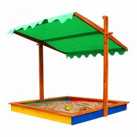 Дитяча пісочниця-24 SportBaby 1450х1450х1400 мм дерев'яна з кришкою-тентом