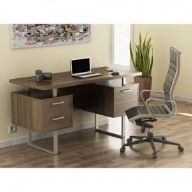 Письменный стол Loft-design L-81 двухтумбовый для офиса Орех-модена