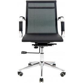 Офісне крісло Richman Armchair Koln-LB хром чорне невисока спинка-сітка