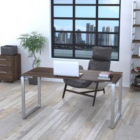 Письменный стол Loft-design Q-160 на металлических ножках хром прямой темный дуб-палена