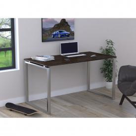 Письмовий стіл Loft-design Q-135х70х76 см ніжки метал-Хром стільниця лдсп Венге темний-корсика
