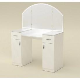 Туалетный столик Компанит Трюмо-4 дсп белого цвета с зеркалом я ящиками