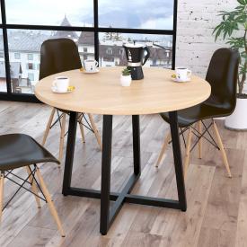 Круглий стіл Loft-design Бланк світлий дуб-борас