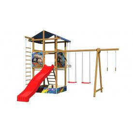 Детская площадка SportBaby №8 деревянная башня с горкой качели кольца лестница веревочная
