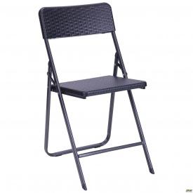 Раскладной стул AMF Морган YC-042 пластик Rattan черный металлические ножки