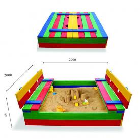 Детская песочница SportBaby №30 с лавочками-крышкой размер 200х200 см цветная деревянная