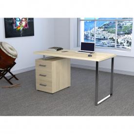 Компьютерно-письменный стол Loft-design L-27-MAX 135х65х75 см ножки-металлические хром c тумбой лдсп Светлый