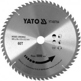 Диск пильный по дереву с победитовыми напайками Yato YT-60784 (305x30x3,2x2,2 мм) 60 зубцов
