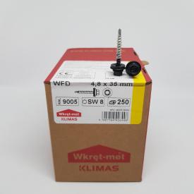 Кровельные саморезы Klimas Wkret-Met 4,8х35 мм по дереву (250 шт ) с резиновой шайбой EDPM для металлочерепицы Окраска RAL 9005 Глубокий черный