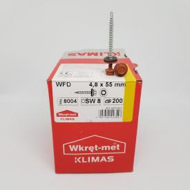 Кровельные саморезы Klimas Wkret-Met 4,8х55 мм по дереву (200 шт ) с резиновой шайбой EDPM для металлочерепицы Окраска RAL 8004 Медно-коричневый