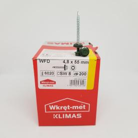 Кровельные саморезы Klimas Wkret-Met 4,8х55 мм по дереву (200 шт ) с резиновой шайбой EDPM для металлочерепицы Окраска RAL 6020 Хромовый зеленый