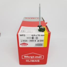 Кровельные саморезы Klimas Wkret-Met 4,8х70 мм по дереву (200 шт ) с резиновой шайбой EDPM для металлочерепицы Окраска RAL 6020 Хромовый зеленый