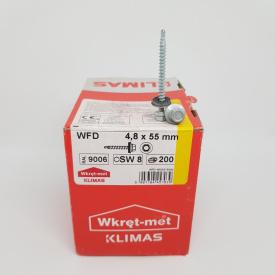 Кровельные саморезы Klimas Wkret-Met 4,8х55 мм по дереву (200 шт ) с резиновой шайбой EDPM для металлочерепицы Окраска RAL 9006 Бело-алюминиевый