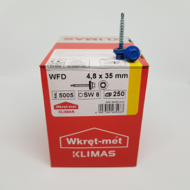 Кровельные саморезы Klimas Wkret-Met 4,8х35 мм по дереву (250 шт ) с резиновой шайбой EDPM для металлочерепицы Окраска RAL 5005 Сигнальный синий