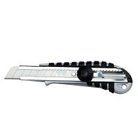 Нож строительный корпус метал резина лезвие 18 мм винтовой замок SIGMA (8211051)