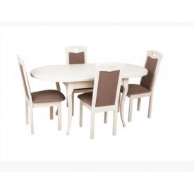 Кухонний комплект Твіст масив дерева стіл і 4 стільця білий