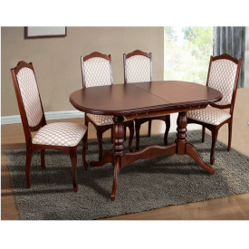 Кухонний комплект Вавилон стіл розсувний та 4 стільця темний горіх
