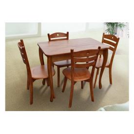 Компактний кухонний стіл Смарт з масиву дерева коньячний