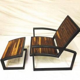 Крісло-Шезлонг GoodsMetall з металу і дерева в стилі LOFT КР1