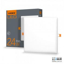 Світлодіодний безрамковий світильник Videx Квадрат 24W-4100K