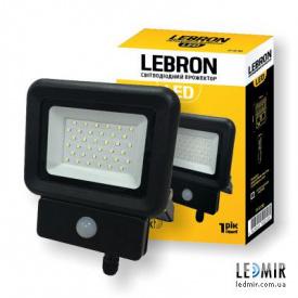 Светодиодный прожектор Lebron 30W-6500K с датчиком движения