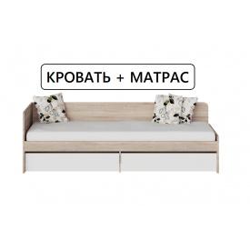 Сфера 800 Односпальная Кровать 80х190 с матрасом с ящиками Сонома + Белый