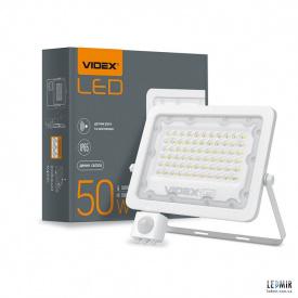 Светодиодный прожектор Videx 50W-5000K White с датчиком движения и освещенности