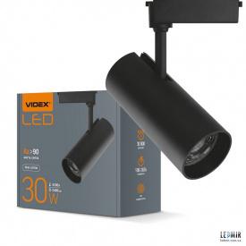 Светодиодный трековый светильник Videx 30W-4100K черный