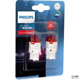 Светодиодная автолампа Philips W21/5W 12V 0,8/1,75W W3x16D комплект (2шт)