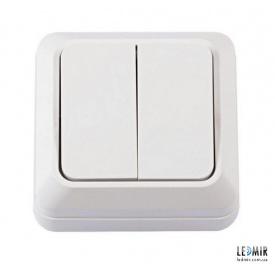 Выключатель двухклавишный Techno Systems LEON белый
