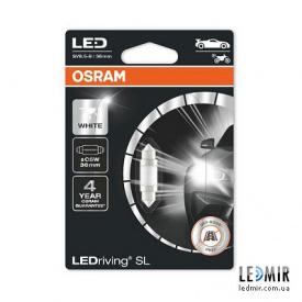 Светодиодная автолампа Osram C5W 12V 0,6W SV8,5-8 комплект (1шт)